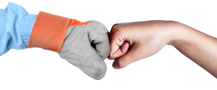 Businessman and Worker Fist Bump