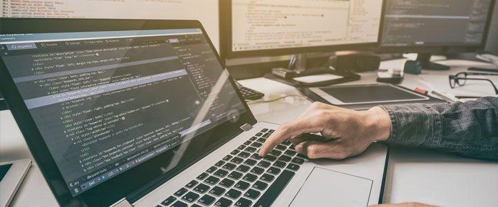 human using laptop